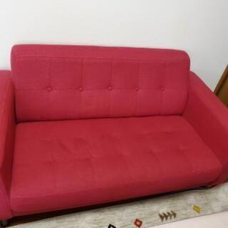 赤い2人かけソファーお譲りいたします。