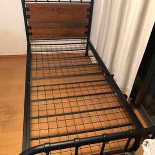 ウッド&スチール シングルベッド