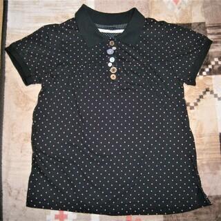 黒地にドット柄のポロシャツ、Mサイズ