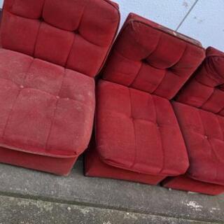 一人掛けソファ3つ 椅子 ワイン色