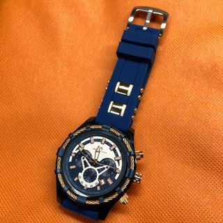 【新品】メガリス クロノグラフ 生活防水 腕時計 ブルー メンズ