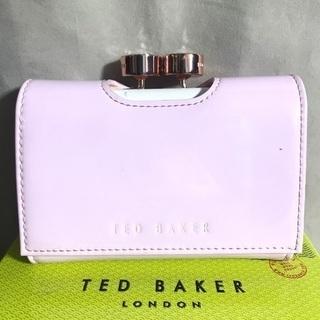 テッドベイカー エナメルピンク&白レザー がま口つきコンパクト折財布