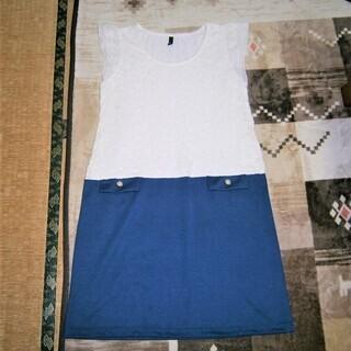 白と紺色の切り替えワンピース