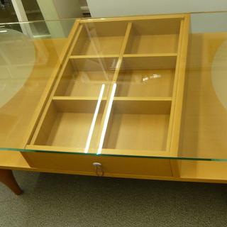 木製センターテーブル ガラス天板 引出し付き ローテーブル…