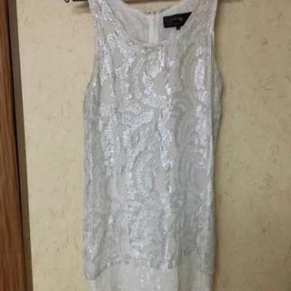 ルシェルブルー ワンピース シルク ドレス シルバー ホワイト ...