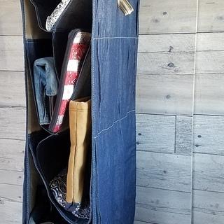 デニム 吊り下げ バッグ収納 取外し可能 バッグ 収納ハンギングバッグ ワードローブハンギングタイプ 収納ラック かばん 鞄 クローゼット - 家具