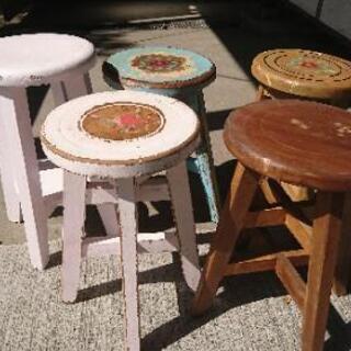 値下げ‼️アンティーク丸椅子(リメーク)