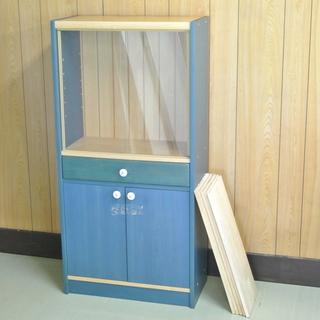 レトロ 木製 青い棚 ガラスの引き戸 棚板の高さ調整可 D…