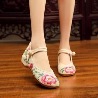新品 刺繍 チャイナ靴 花柄 布素材 北京靴 ダンスシュー…