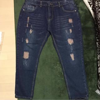 新品 8分丈ダメージジーンズ 大きいサイズ