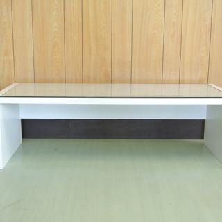 白いローテーブル ガラス天板付き 木製