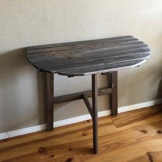 【IKEA】木製テーブル 半月型 インダストリアル風