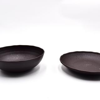割れにくい 皿セット 中鉢 黒釉