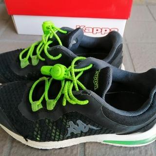 訳あり★カッパ Kappa 運動靴 スニーカー 21cm 黒 ほどけない靴紐付き 外箱あり - 売ります・あげます