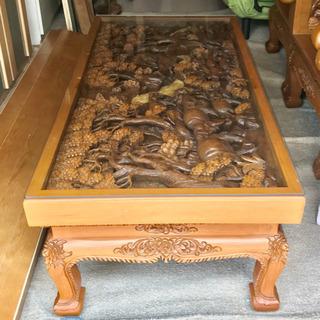 木彫りの彫刻家具 タイ製 ローテーブル大