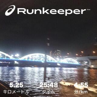 月火水金いずれかの週一日、夜7時以降に隅田川テラスで走りませんか?