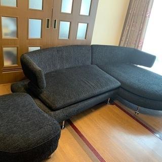 布製ラウンド型ソファー 黒
