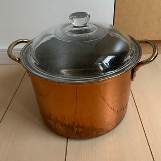 ガラス蓋つき銅の鍋差し上げます