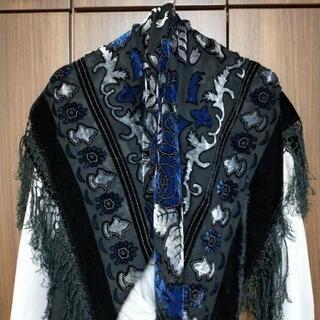 セットアップ【高級】絹100%日本製スカーフ ベロアストール【エ...