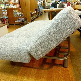 ソファベッド 3人掛けソファ 肘掛け・背もたれリクライニング 布製 グレー 幅183㎝ 西岡店 - 売ります・あげます