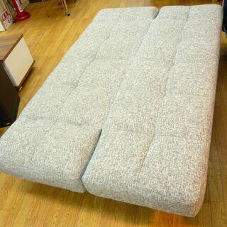 ソファベッド 3人掛けソファ 肘掛け・背もたれリクライニング 布製 グレー 幅183㎝ 西岡店 - 家具