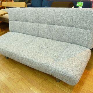 ソファベッド 3人掛けソファ 肘掛け・背もたれリクライニング 布製 グレー 幅183㎝ 西岡店 − 北海道