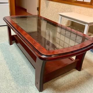 高級 レトロ ガラステーブル ブラウン