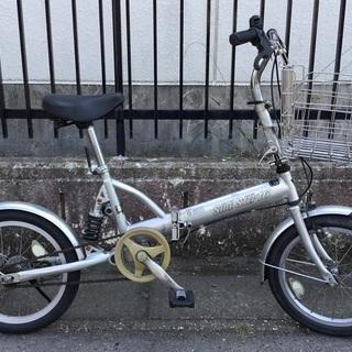 <動作品>  16インチ・折りたたみ自転車・折り畳みカゴ付き。