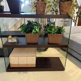 シェルフ 飾り棚 フリーラック 棚 茶 ガラス板 展示品 中古品