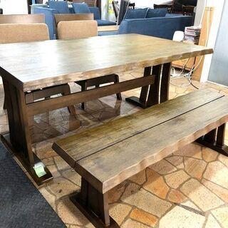札幌近郊 送料無料 ダイニングテーブル4点セット 4人掛け ベンチシート 幅150cm×奥行90cm×高さ66cmの画像