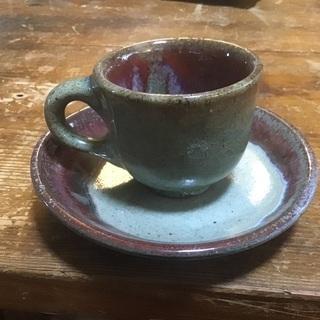 コーヒーカップ、ソーサーセット やちむん 小宇宙 曜変天目