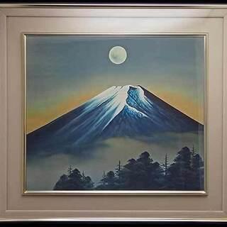 【AR】渡辺玉豊 肉筆  日本画 霊峰満月 F10