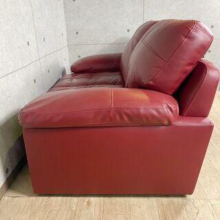 7*56 ニトリ 本革 2人掛けソファー 赤 レッド カウチソファー - 売ります・あげます