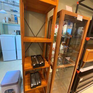 シェルフ フリーラック 棚 飾り棚 本棚 茶 スリム 中古品