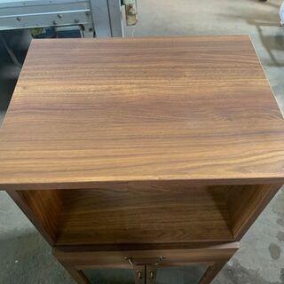 アンティーク調 食器棚 木製 ダークブラウン 木目 配送OK 良品 - 家具