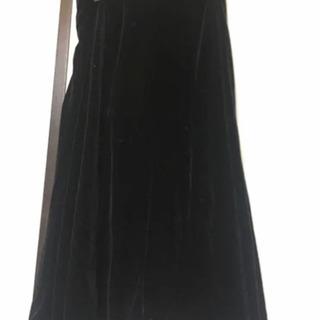 ベロア フレア ロング スカート 黒 ブラック