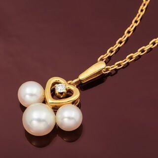 MIKIMOTO K18YG ベビーパール・ダイヤモンド ネックレス 品番B8-369 - 服/ファッション