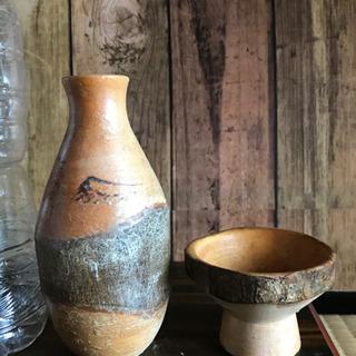 値下げ【レア/骨董品】珍しい木製のとっくり&おちょこ(亀裂あり)