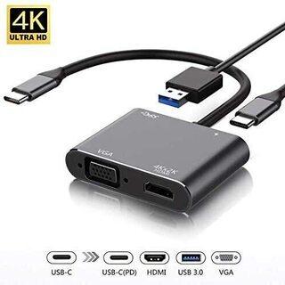 USB Type c HDMI VGA 4-in-1 変換アダプタ