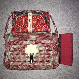 ハンドメイドバッグ、ポーチ、小銭入れセット