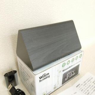 木製目覚まし時計デジタル USB 温度 Warmhoming