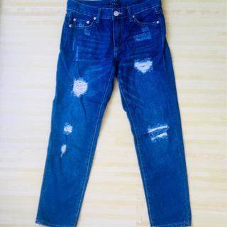 【半額値下げ】 ダメージジーンズ 7分丈