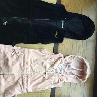 ベベ BeBe ノースリーブ パーカー ピンクとブラック2点セット 80 美品の画像
