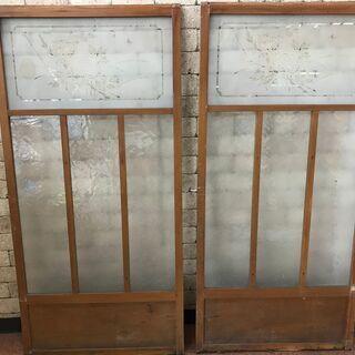 建具 2枚組 扉 牡丹 日本家屋 古民家 レトロ ガラス アンティーク