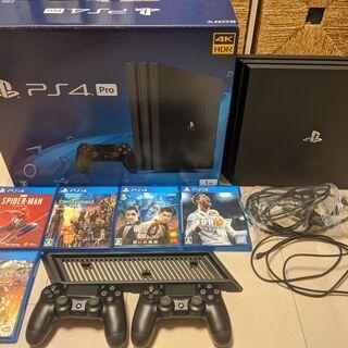 PS4 Pro ジェット・ブラック 1TB 本体「ソフト5本, ...