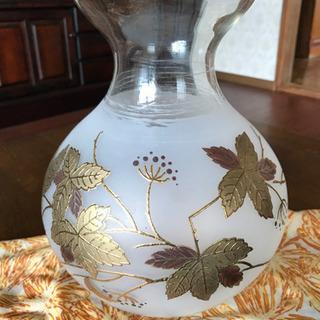 花瓶 ボヘミアガラス 金彩 ハンドペイント チェコ製