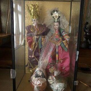 ガラスケース付き!日本人形/中国韓国/人形レトロ骨董インテリア
