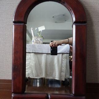 鏡 アンティーク 木製