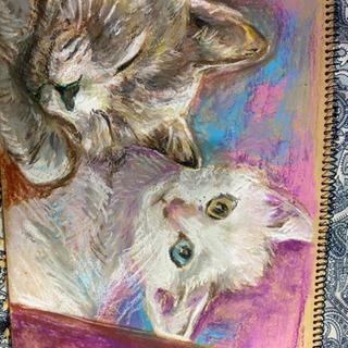 クレヨンの絵 肖像画 ペット