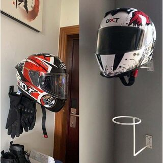②新品/バイク ヘルメットハンガー 《ホワイト》かブラック 壁掛...